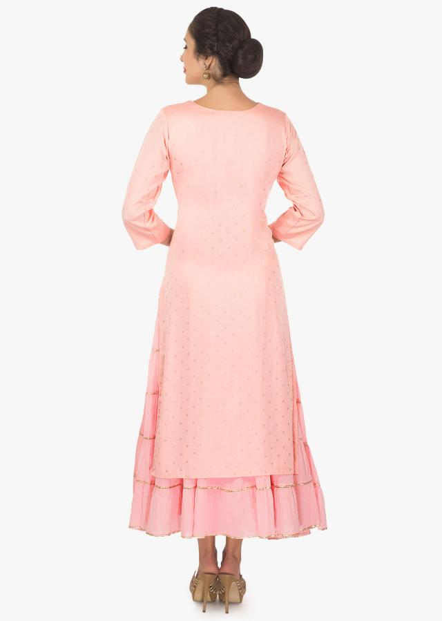 Baby pink cotton kurti with attached under layer with gathers only on kalki