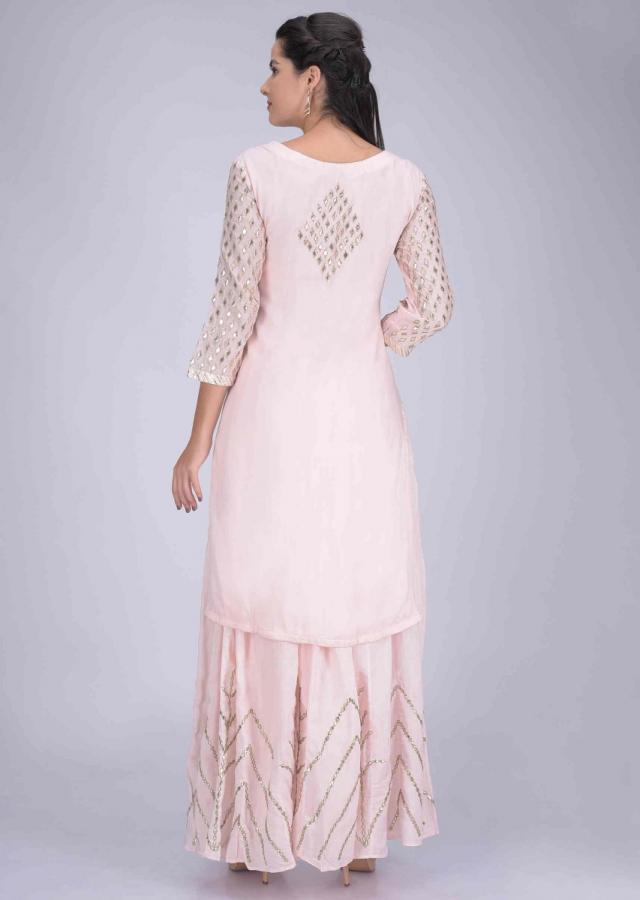 Baby Pink Suit Set In Cotton With Palazzo Bottoms And Chiffon Dupatta Online - Kalki Fashion