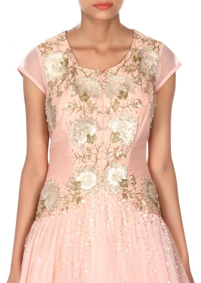 Baby pink gown adorn in patch embroidery only on Kalki