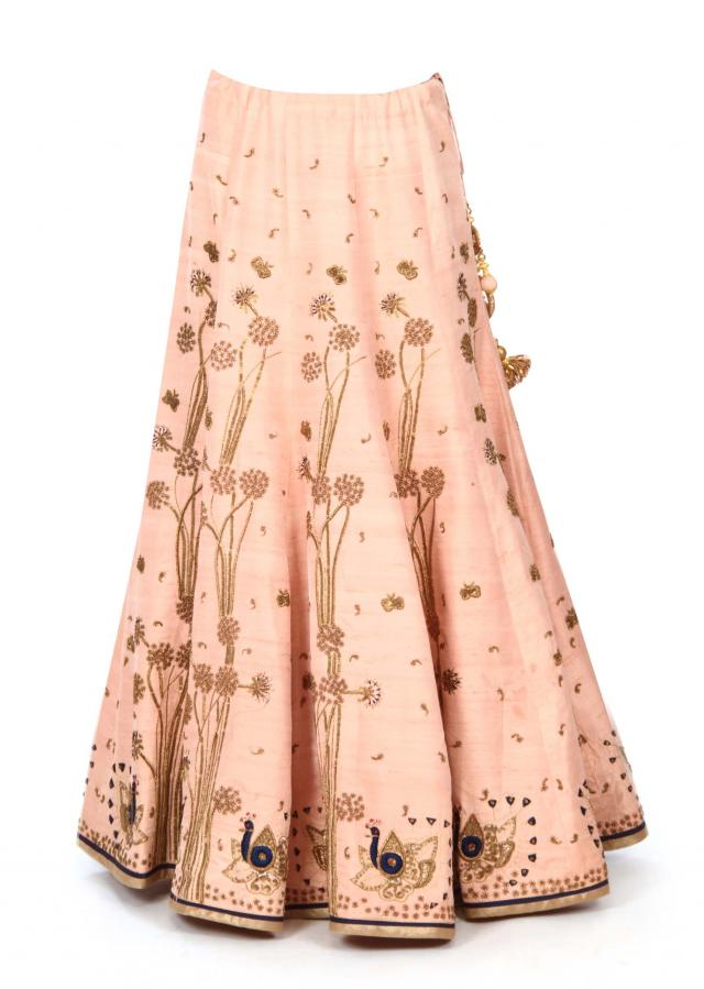 Baby pink lehenga adorn in peacock motif embroidery only on Kalki