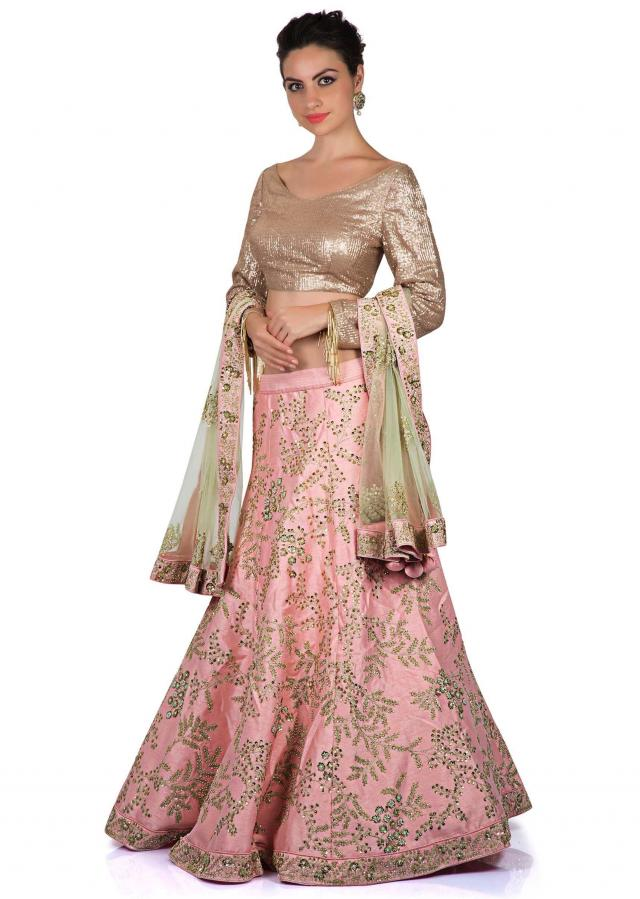 Baby pink lehenga in zari and kundan work with sequin blouse only on Kalki