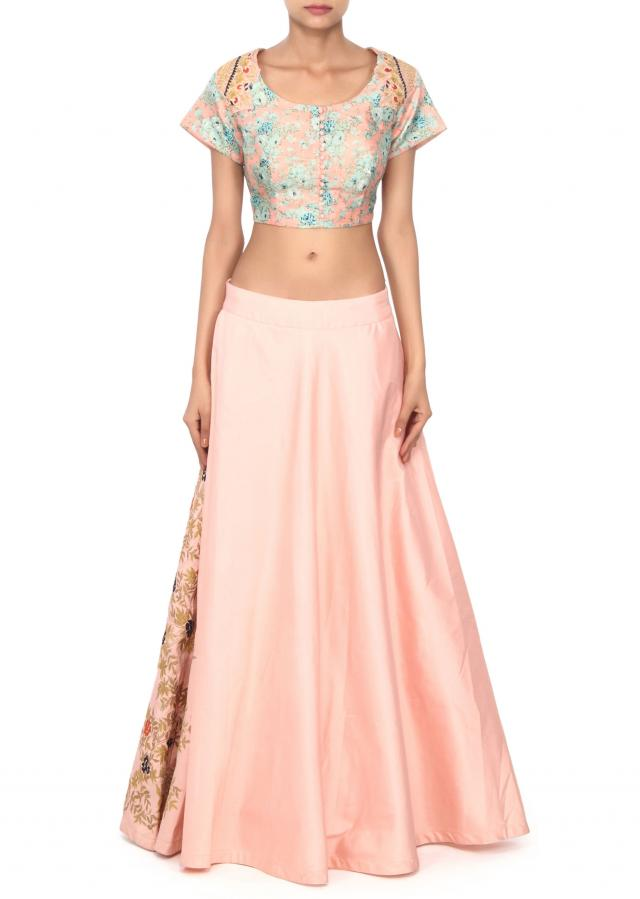 Baby pink lehenga in zari and resham work only on Kalki