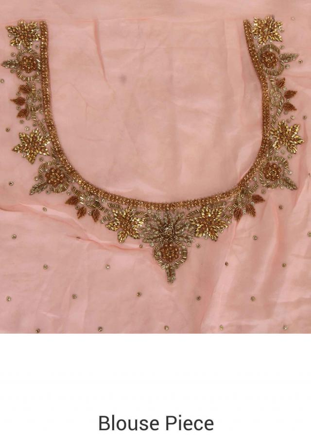 Baby pink saree with embroidered border only on Kalki