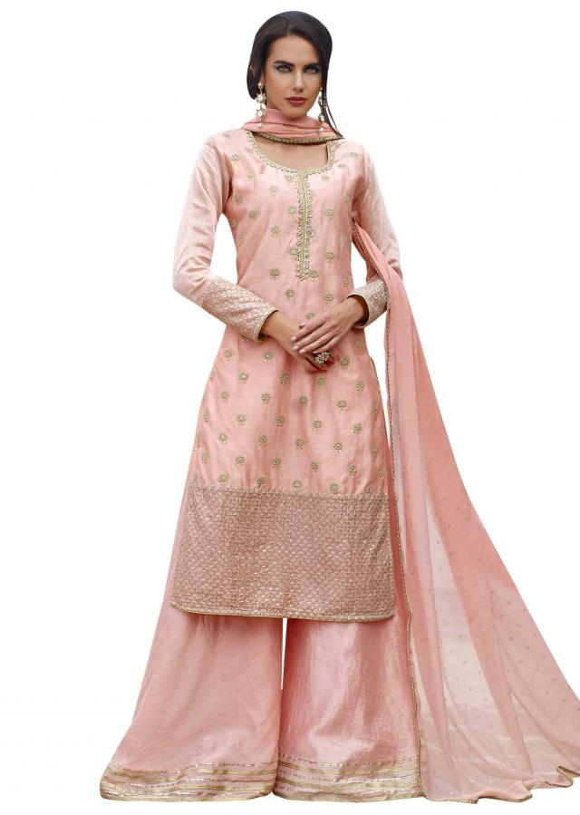Baby pink straight palazzo suit in resham and zari butti