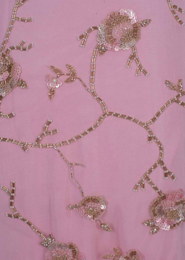 Baby Pink Unstitch Suit In Hard Net With Floral Jaal Embroidery Online - Kalki Fashion