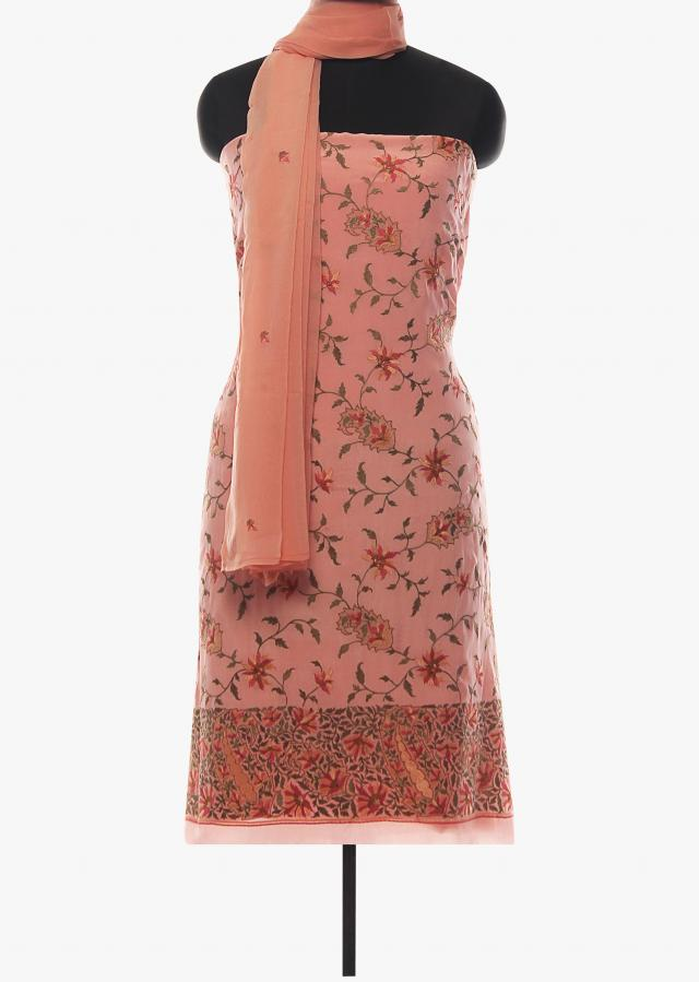 Baby pink unstitched suit adorn in floral jaal motif only on Kalki