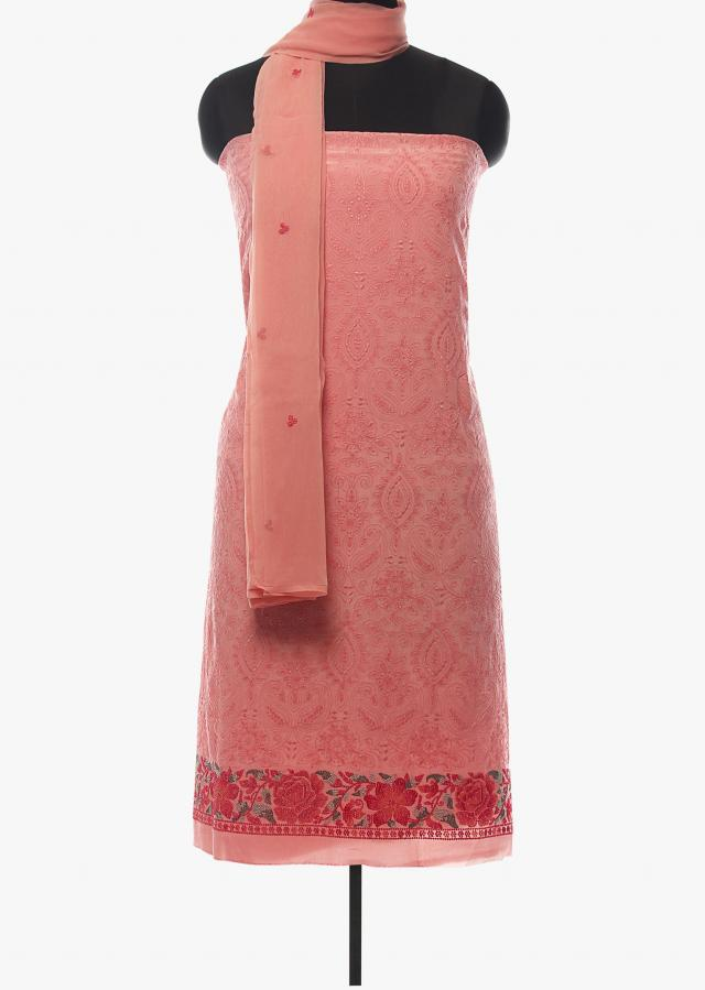 Baby pink unstitched suit in georgette with thread embroidery all over only on Kalki