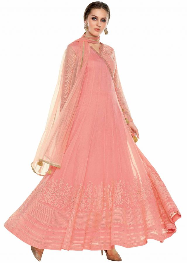 Baby pink anarkali suit in angarkha style  with resham and moti work