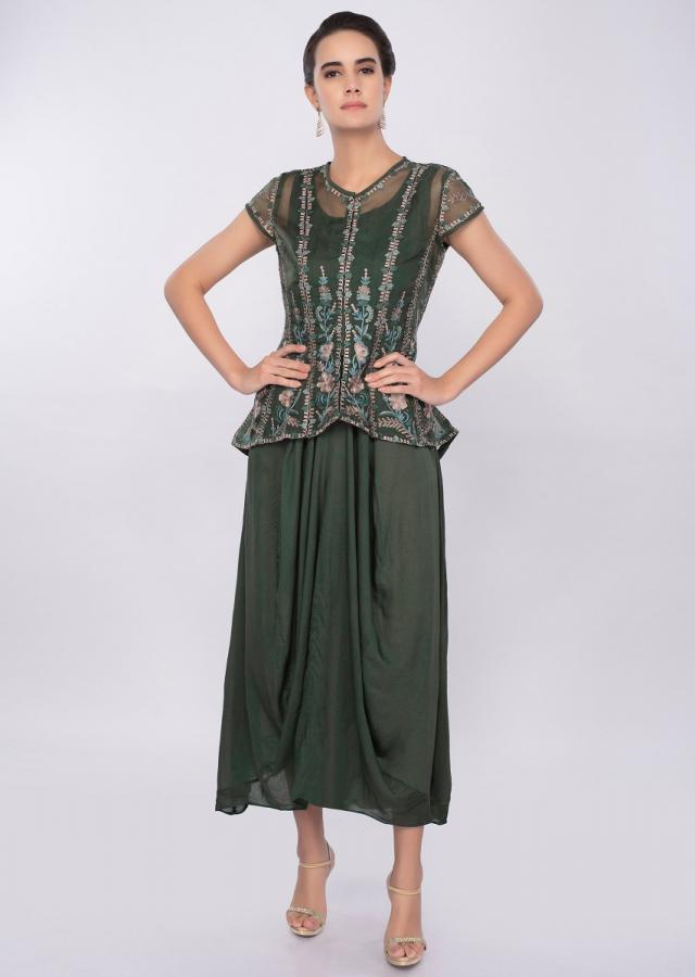 Basil green cotton tunic with gathers paired with additional organza jacket only on Kalki