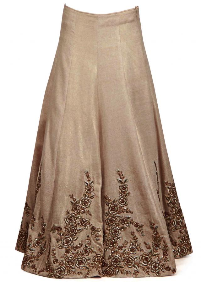 Beige gold lehenga with wine peplum top in floral motif only on Kalki
