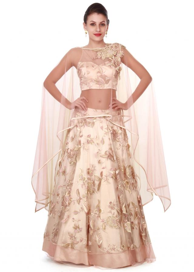 Beige lehenga with resham embroidered cape only on Kalki