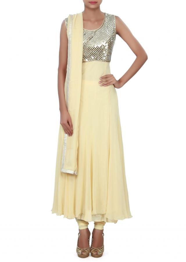 Beige anarkali suit adorn in mirror embroidery only on Kalki