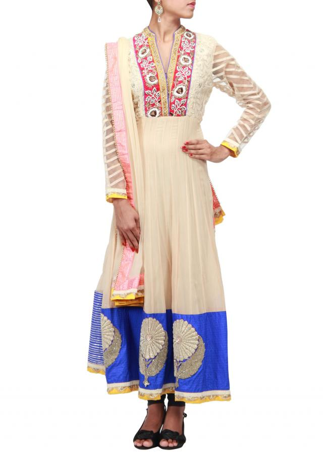 Beige anarkali suit adorn with embroidered placket in pearl and zardosi only on Kalki