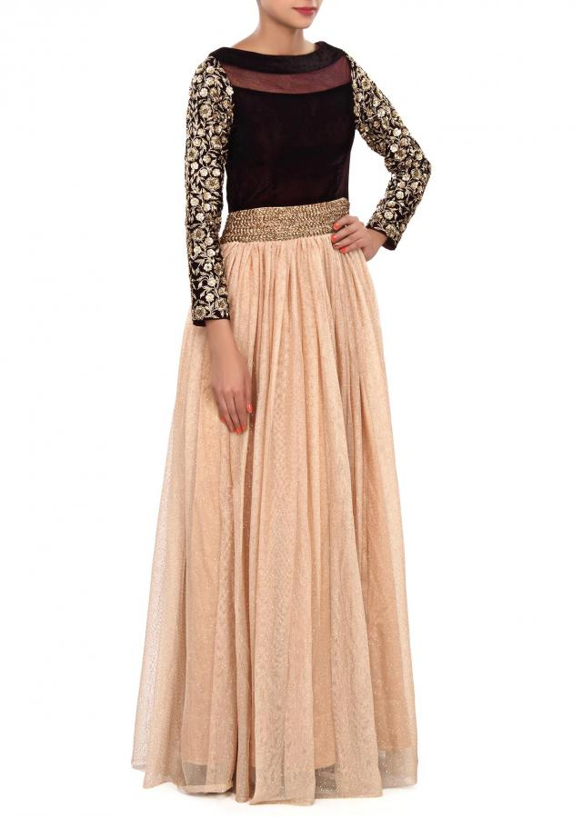 Beige anarkali suit embellished zardosi embroidery only on Kalki