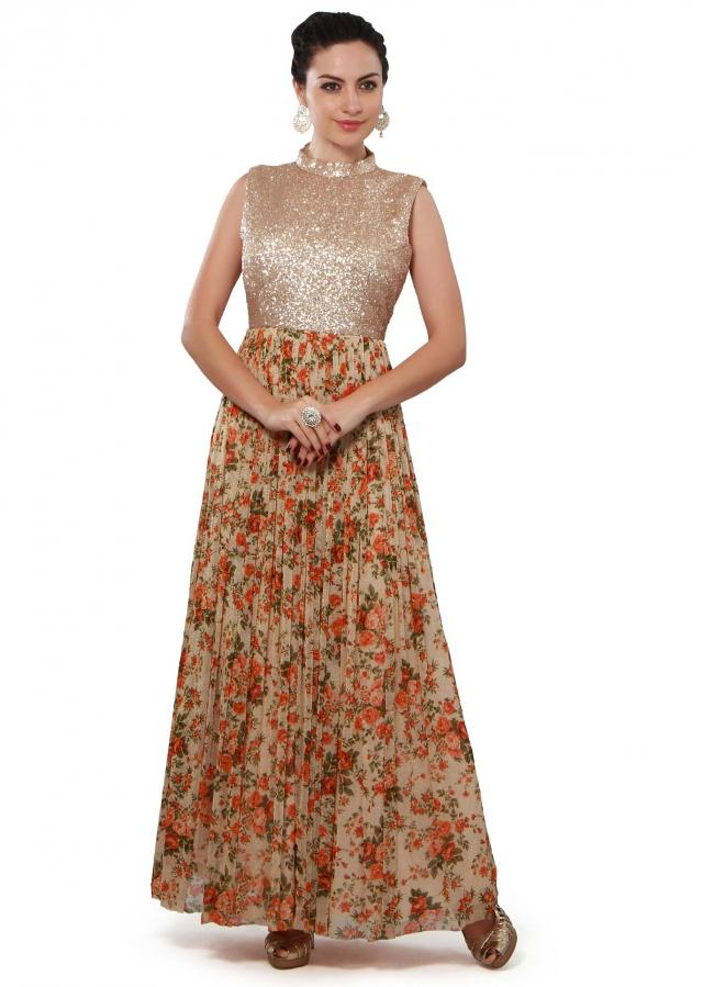 Beige anarkali suit featuring with sequin bodice only on Kalki