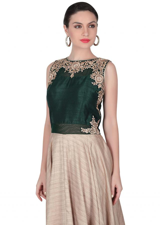 Beige anarkali suit with green embroidered bodice only on Kalki