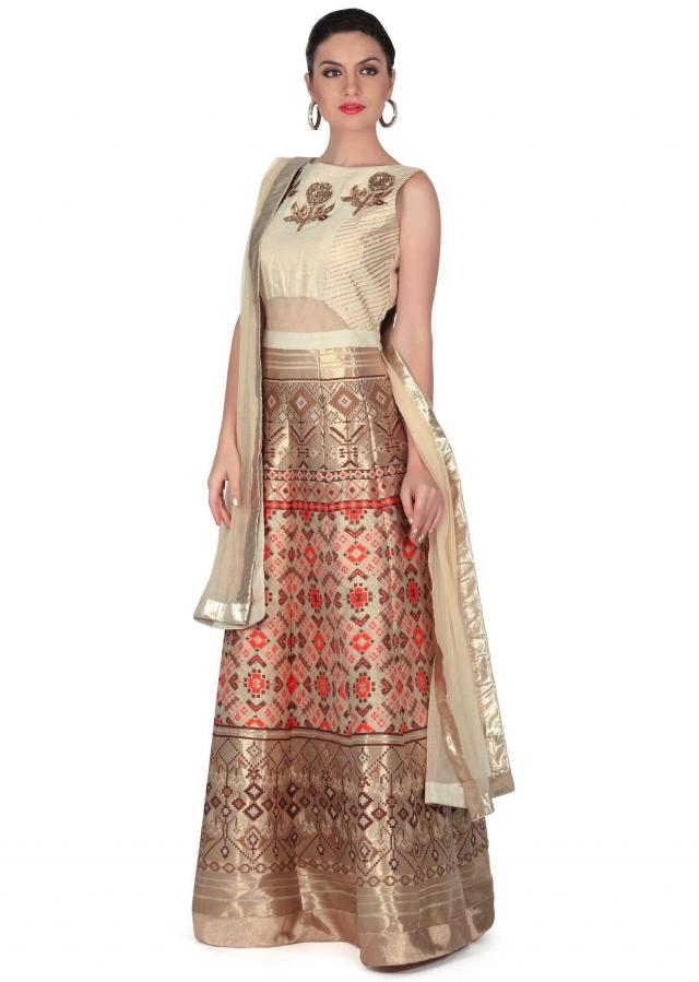 Beige anarkali suit with sequin embroidered butti only on Kalki