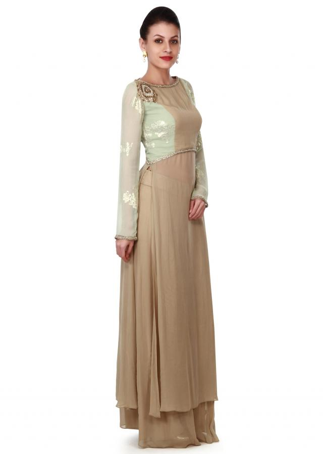 Beige and pista green straight suit with palazzo pant only on Kalki