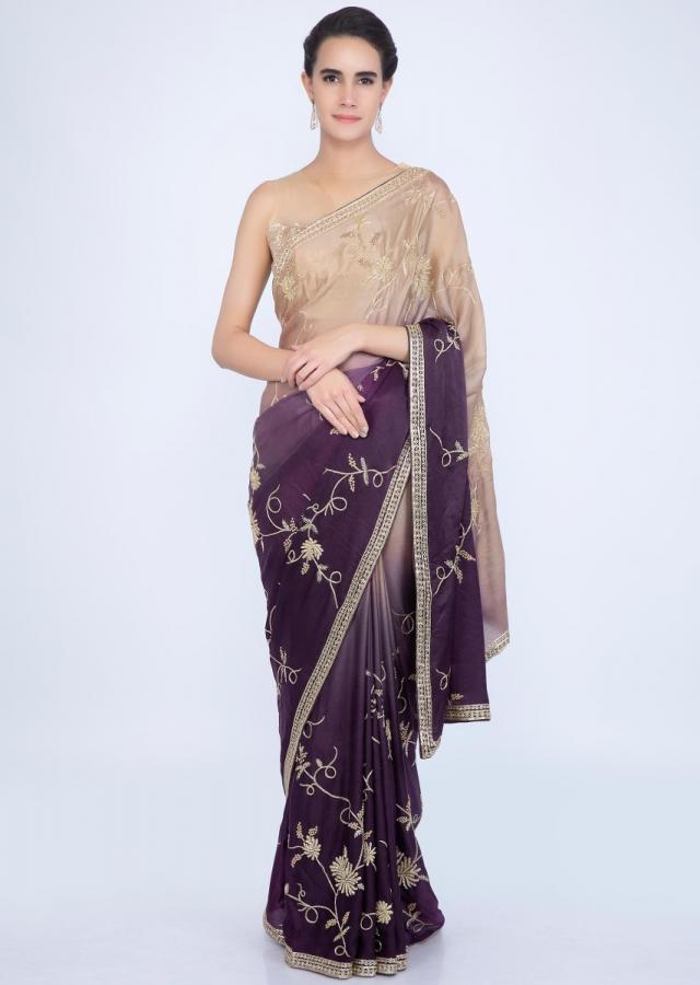 Beige and purple shaded satin silk saree in jaal embroidery only on Kalki