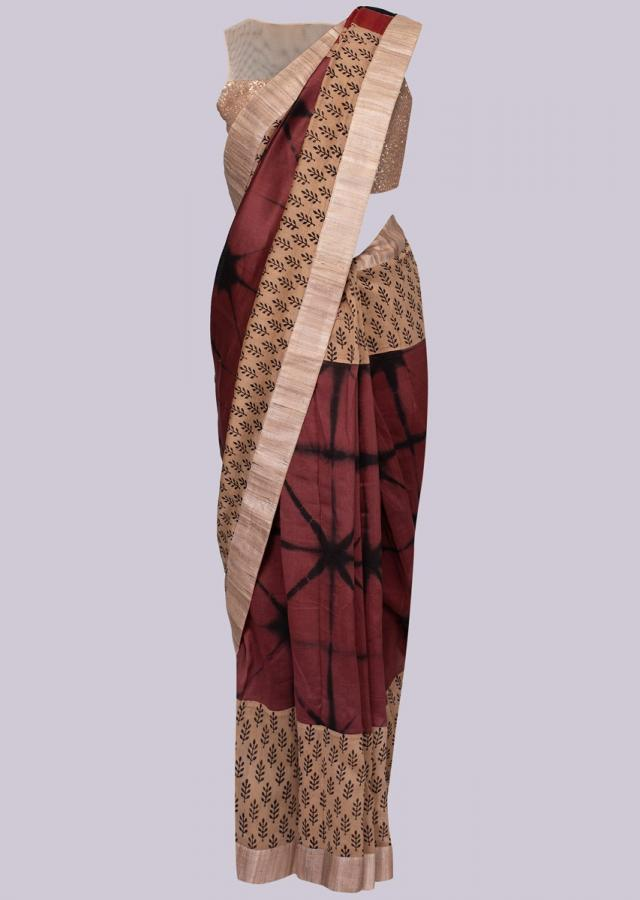 Beige And Rust Saree With Batik Print And Tie And Dye Pattern Online - Kalki Fashion