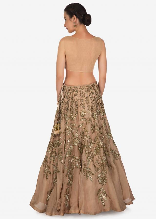 Beige brown lehenga in organza silk with sequin and cut dana embroidery only on Kalki