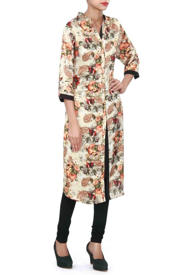 Beige kurti adorn in digital print and fancy button only on Kalki
