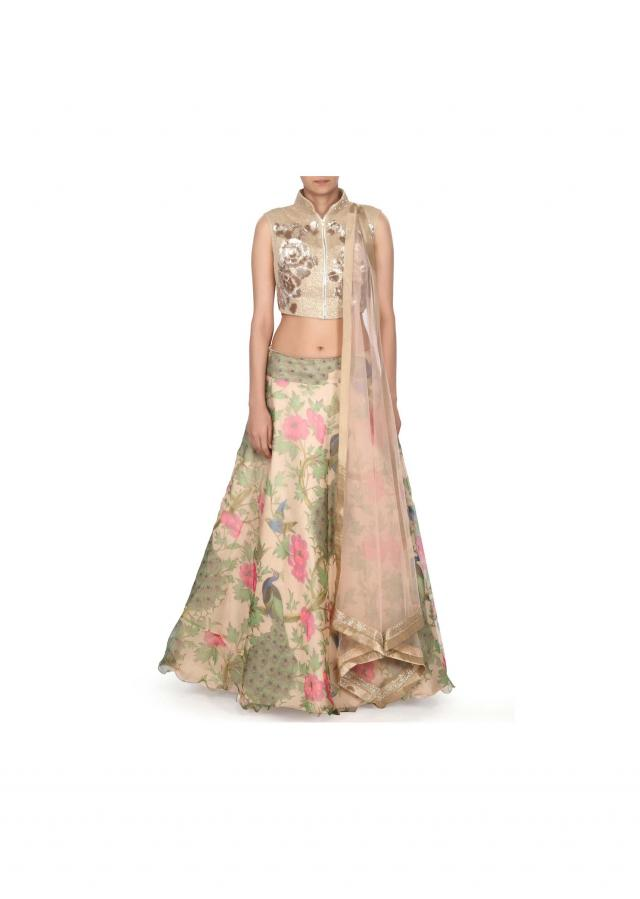 Beige lehenga featuring in peacock motif print only on Kalki