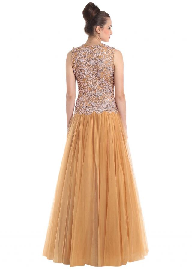 Beige Gown In Net Embellished With Cord Thread Work Online - Kalki Fashion