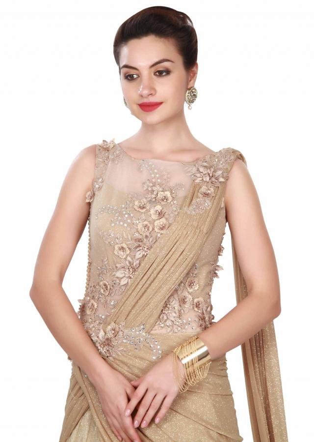 Beige saree gown adorn in floral and resham embroidery only on Kalki