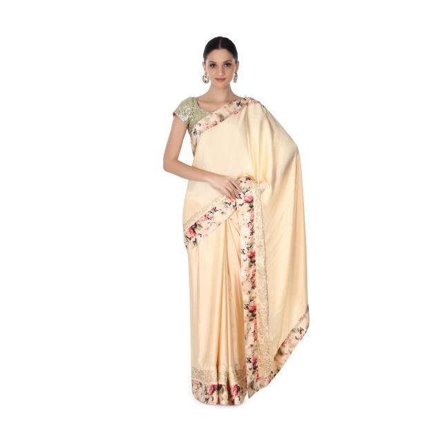 Beige saree in floral and kundan border only on Kalki