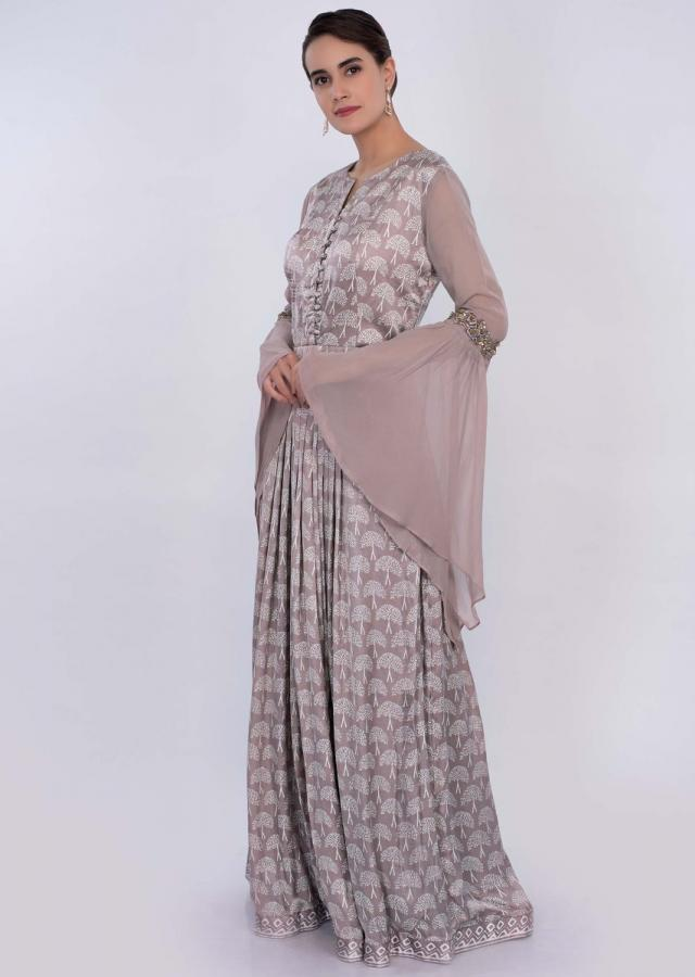 Beige satin silk printed tunic dress with flared sleeves only on Kalki