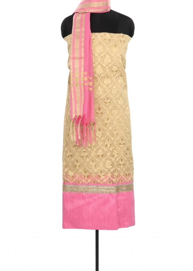 Beige unstitched suit enhanced in weave only on Kalki