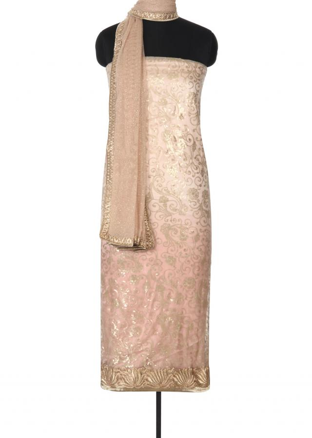 Beige unstitched suit adorn in sequin embroidery only on Kalki