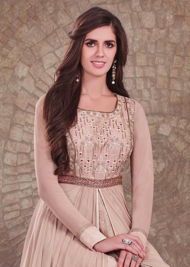 Beige anarkali suit with under layer and zardosi embroidered bodice