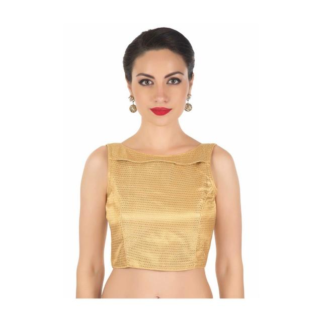 Beige blouse in lurex with double layer neckline only on Kalki