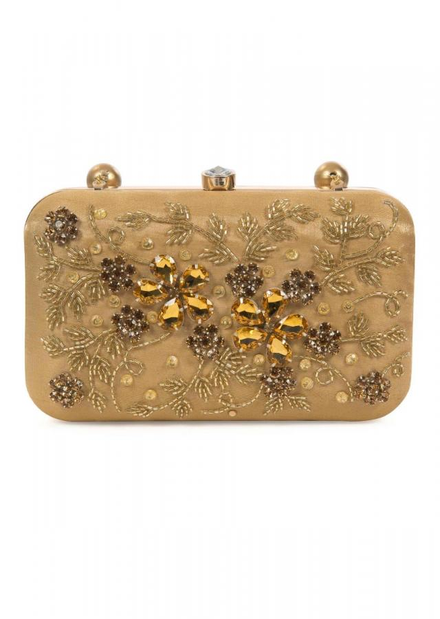 Beige gold hand embroidered capsule clutch