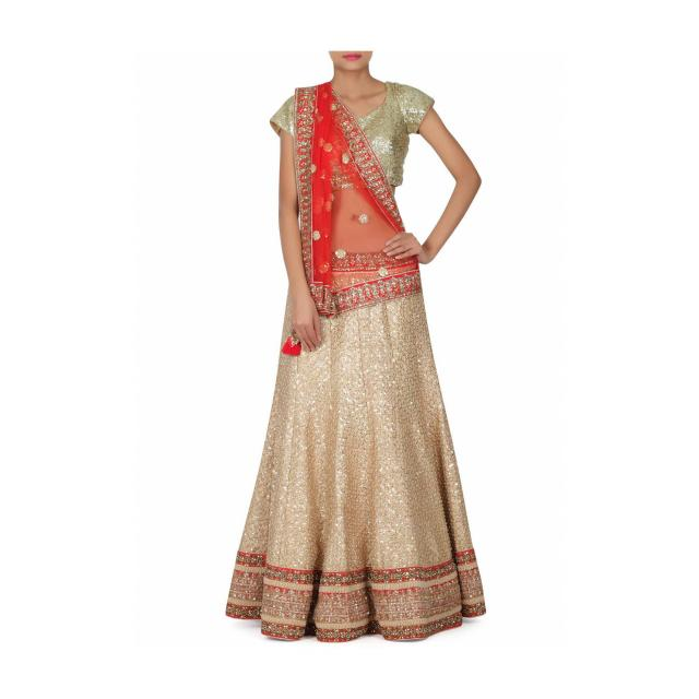 Beige lehenga adorn in sequin and kundan embroidery only on Kalki