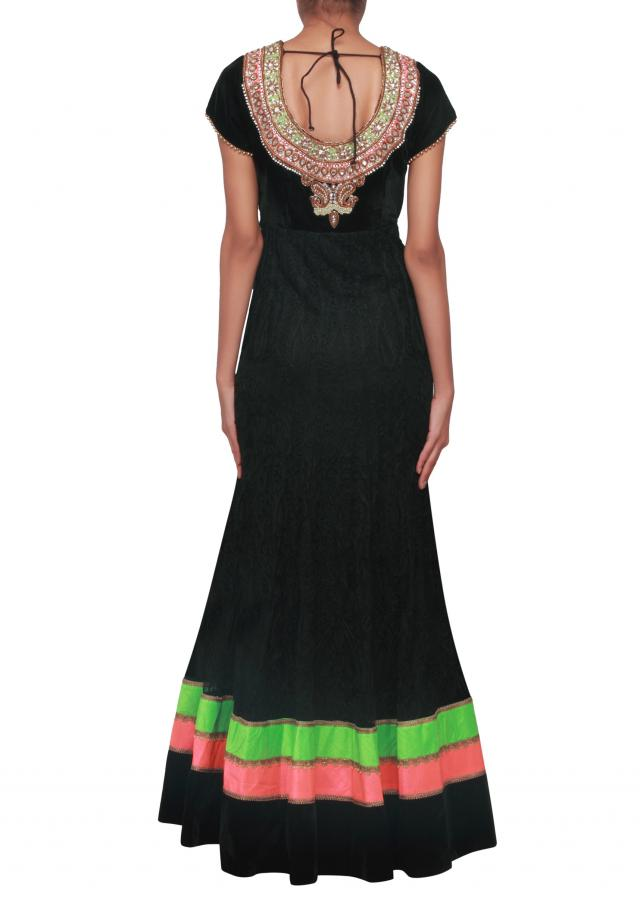 Black anarkali suit embellished in stone and zardosi embroidery only on Kalki