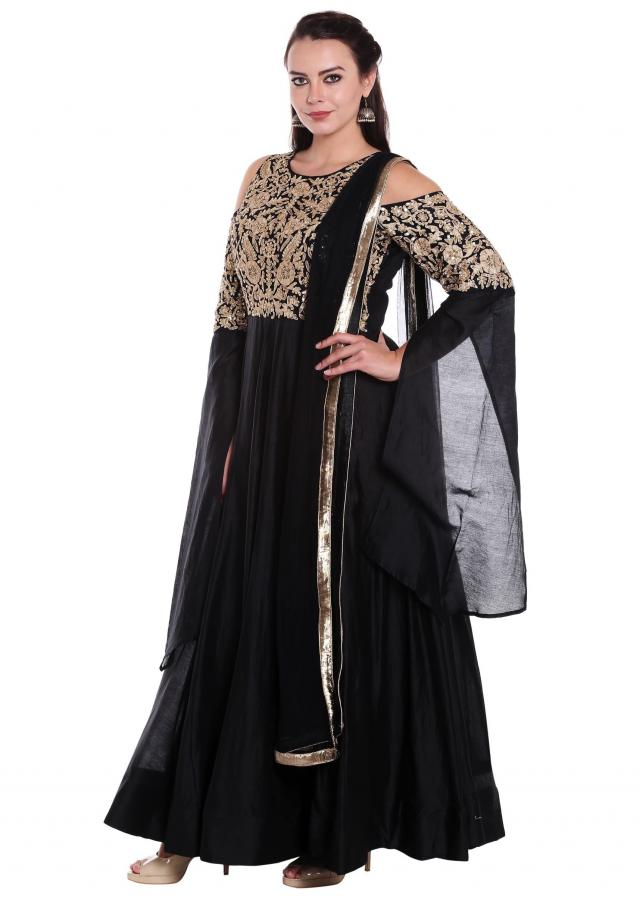 Black anarkali suit in cold shoulder with zari embroidered bodice only on Kalki