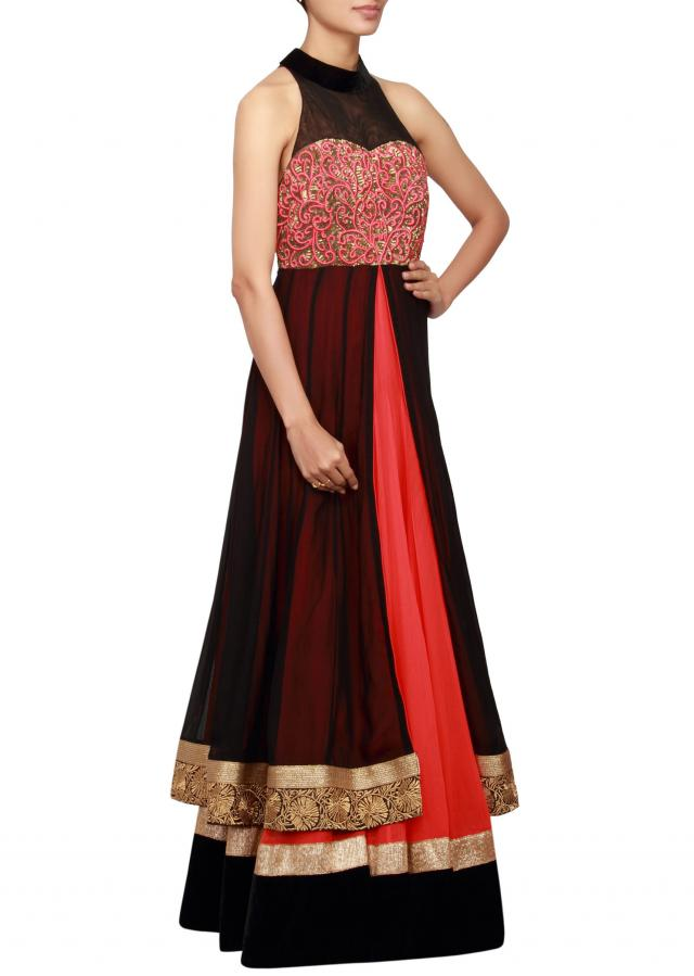 Black and coral anarkali in net and georgette embellished in sequin and embossed zari only on Kalki