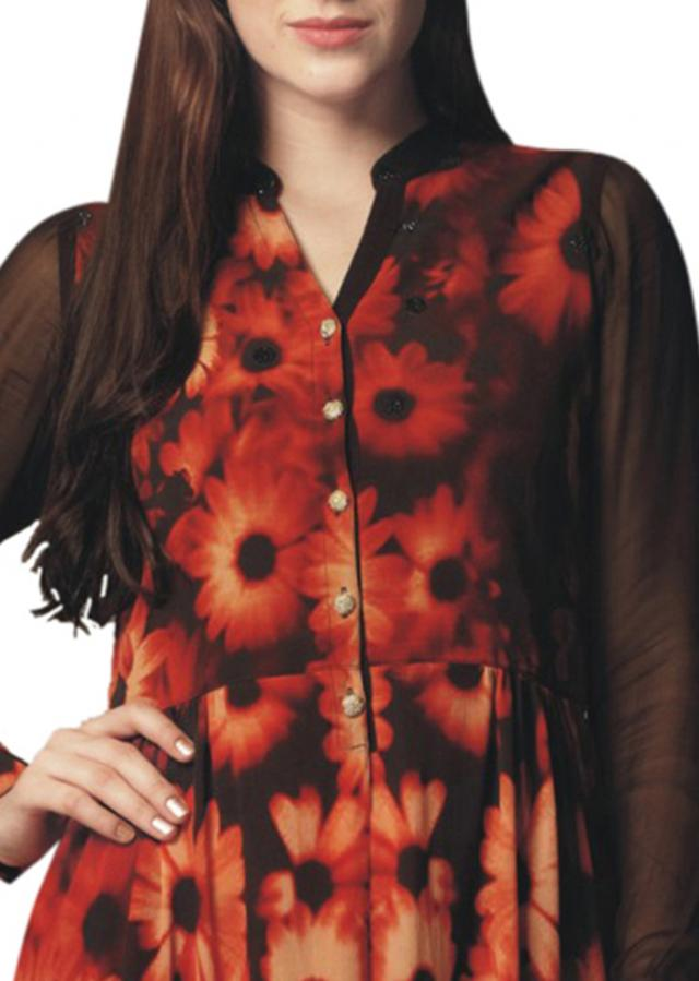 Black and peach floral printed kurti
