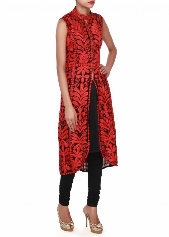 Black and red kurti features in thread work in floral motif only on Kalki
