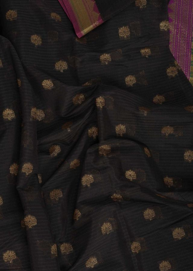 Black Banarasi Saree In Silk With Weaved Floral Buttis Online - Kalki Fashion
