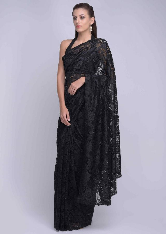 Black Chantilly lace saree with embellished with kundan embroidery only on Kalki
