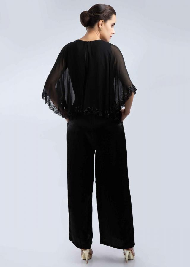 Black Jumpsuit In Fabia Satin With A Prestitched Georgette Cape Online - Kalki Fashion