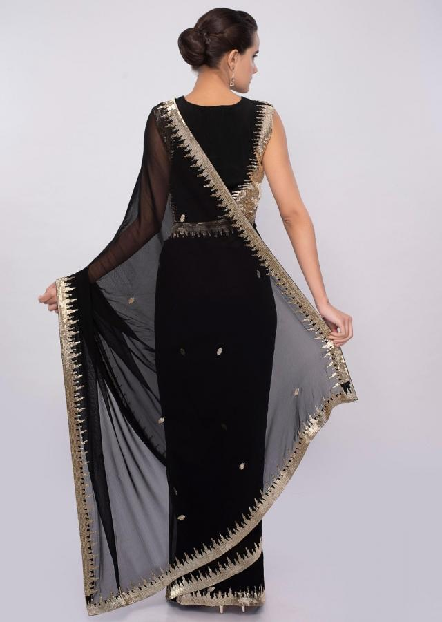 Black georgette saree wit cut dana embroidery and butti only on Kalki