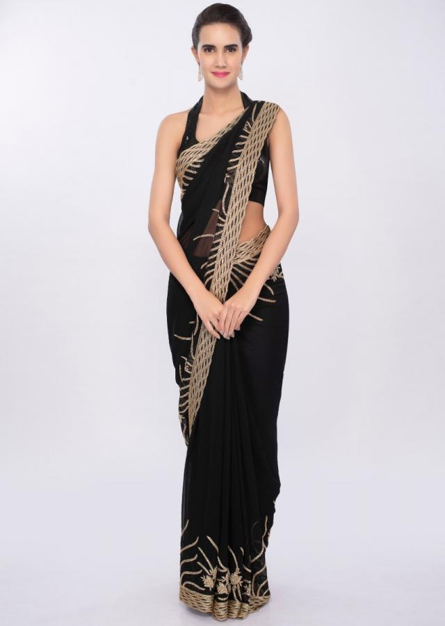 Black georgette saree with golden embroidered pallo and border only on Kalki