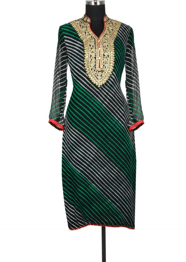 Black georgette straight cut kurti in leheriya print embellished in gotta patti and zari only on Kalki