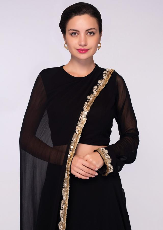 Black Top In Georgette With One Side Sleeves And Additional Top Paired With A Matching Skirt Online - Kalki Fashion