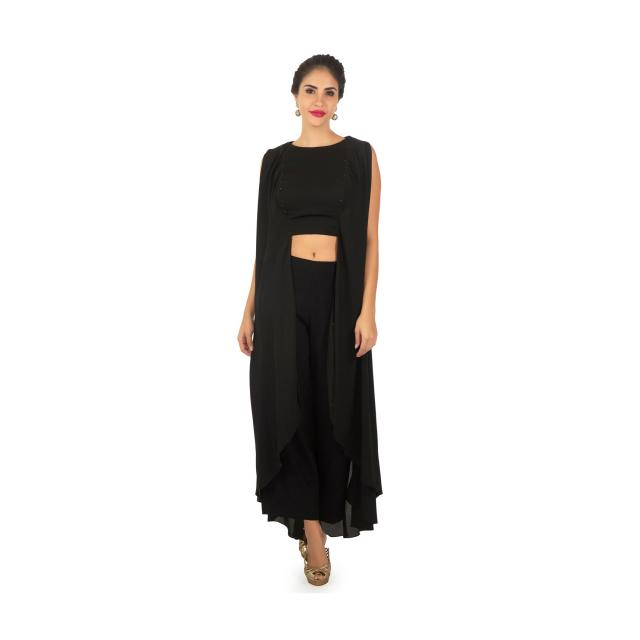 Black georgette tunic in front and side slits only on Kalki